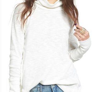 We the Free white turtleneck split back sweater